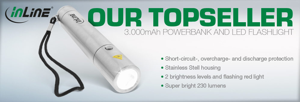 InLine® USB PowerBank 3000mAh with LED Display and Flashlight