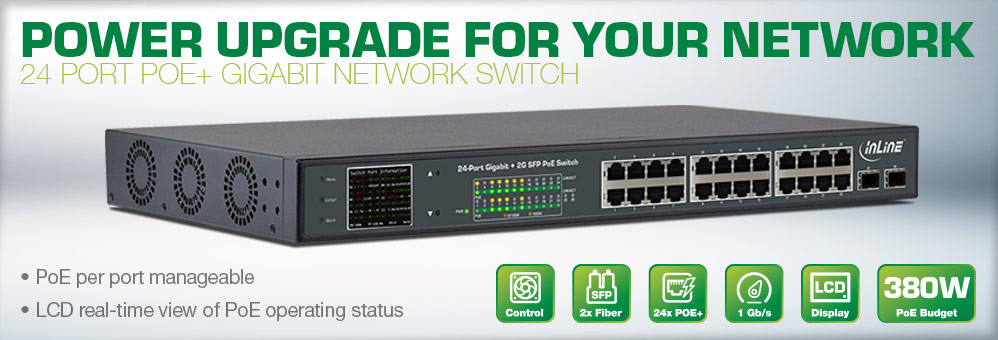 InLine 24 Port POE+ Switch