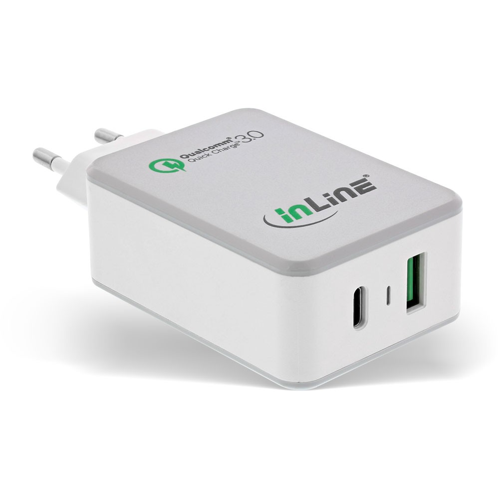 InLine® Quick Charge 3.0 USB power adapter, charger, USB-A + USB Type-C, 30W, white