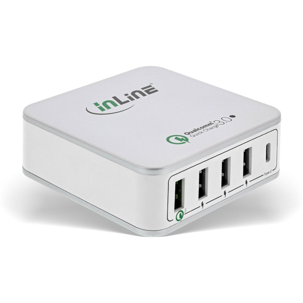 InLine® Quick Charge 3.0 USB power adapter, charger, 4x USB A + USB Typ-C, 40W, white