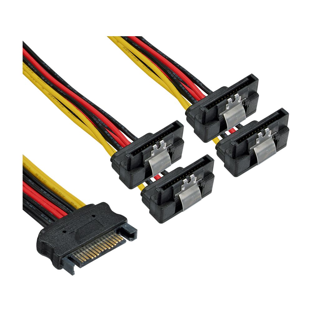 InLine® SATA Power 1 to 4 Cable Socket to 4x SATA plug angled with latches 0.3m