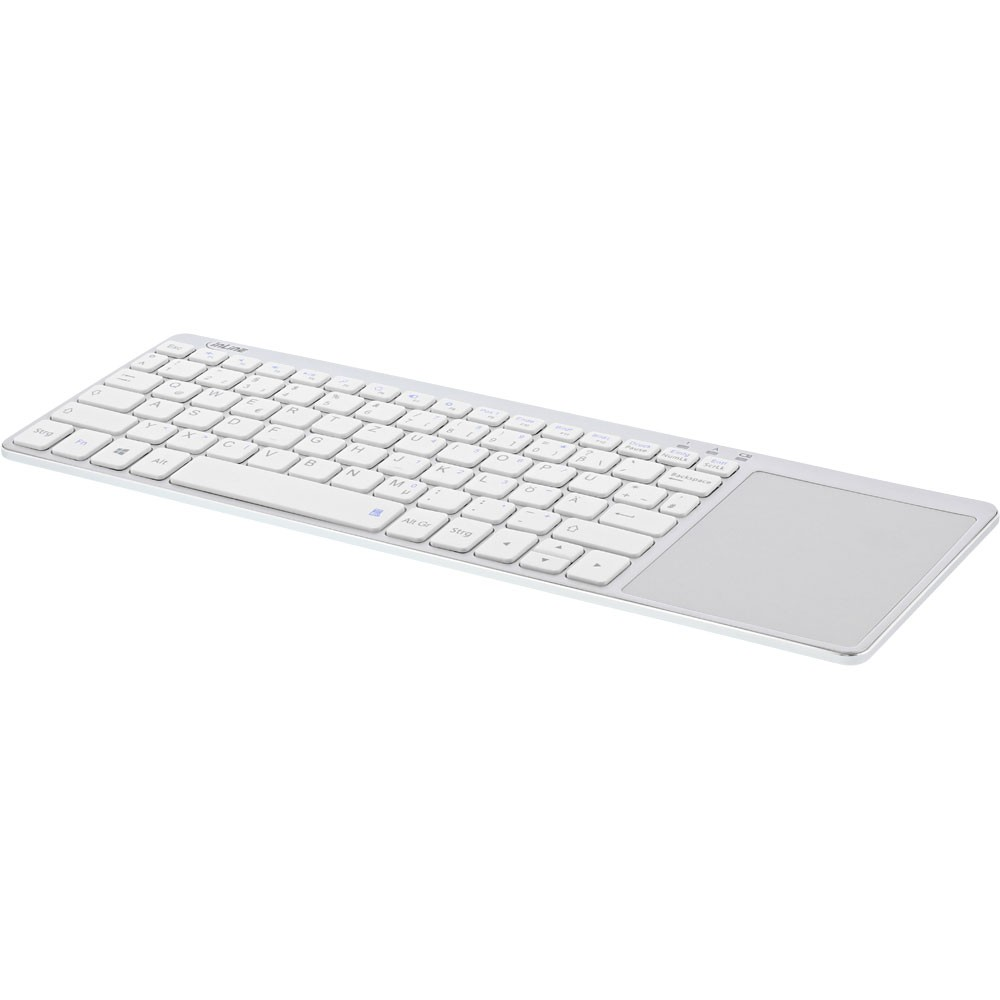 InLine® Wireless Aluminum Slim-Keyboard with Touchpad, 2.4GHz, silver/white