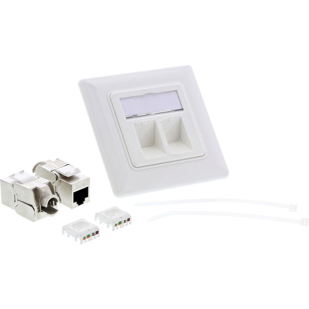InLine® Cat.6A box flush-mounted 2x RJ45 white RAL9010