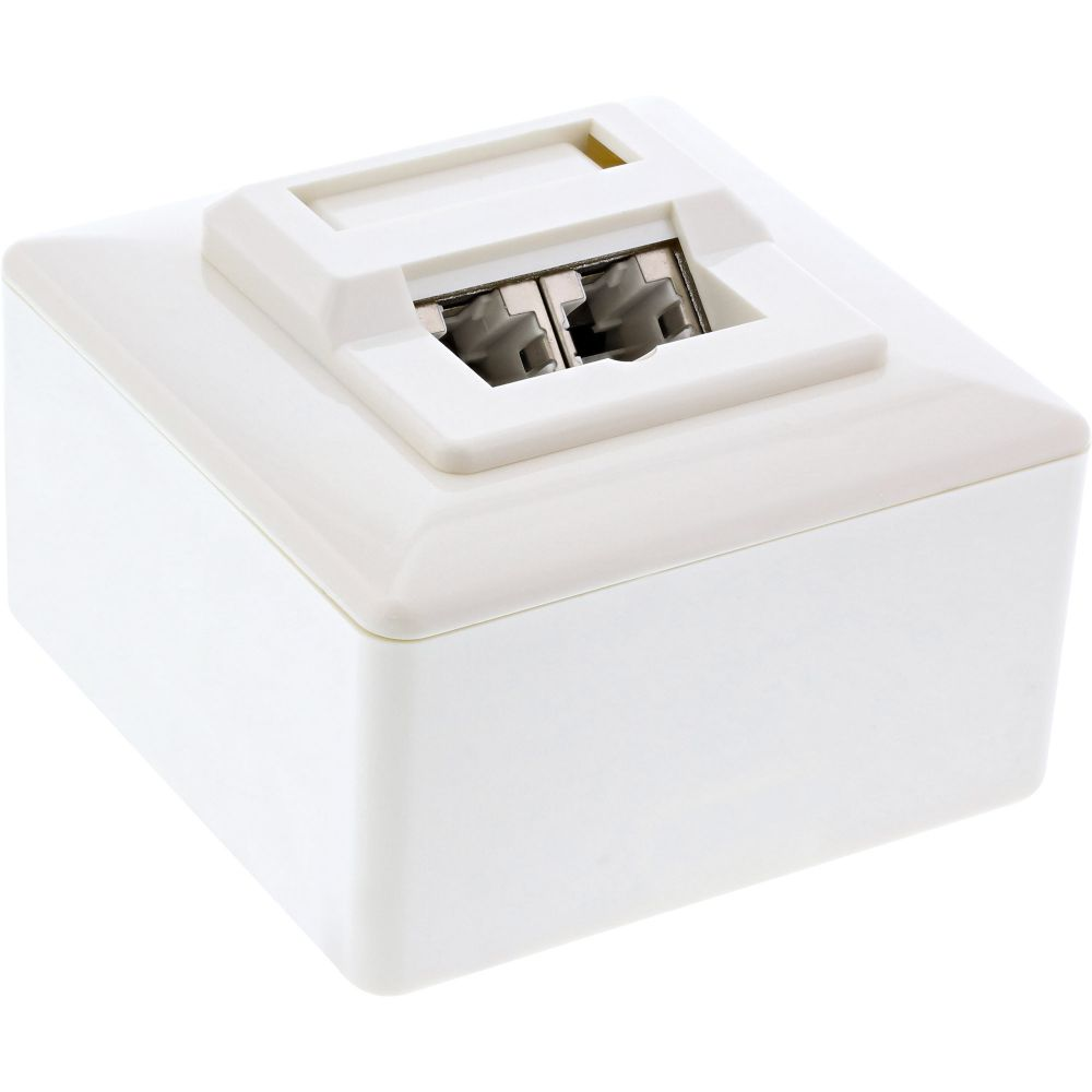 InLine® Cat.5e Connection Box AP 2x RJ45 Socket RAL 9010 white
