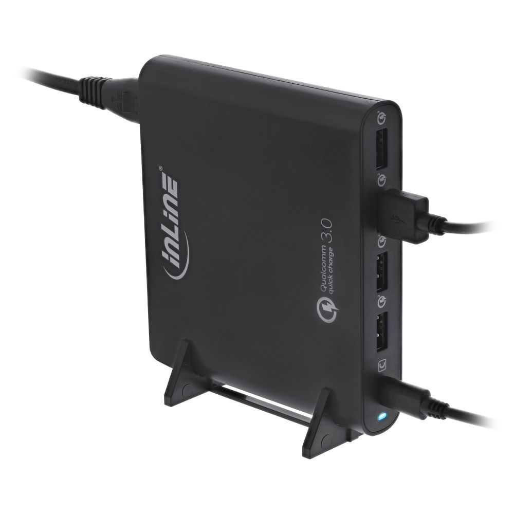 InLine® Quick Charge 3.0 USB notebook power supply, 4x USB A + USB Type-C, 80W, black