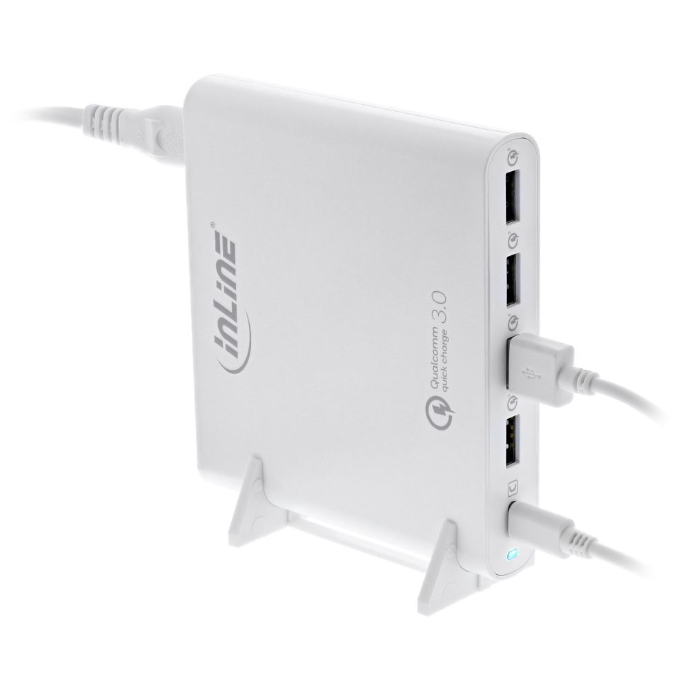 InLine® Quick Charge 3.0 USB notebook power supply, 4x USB A + USB Type-C, 80W, white