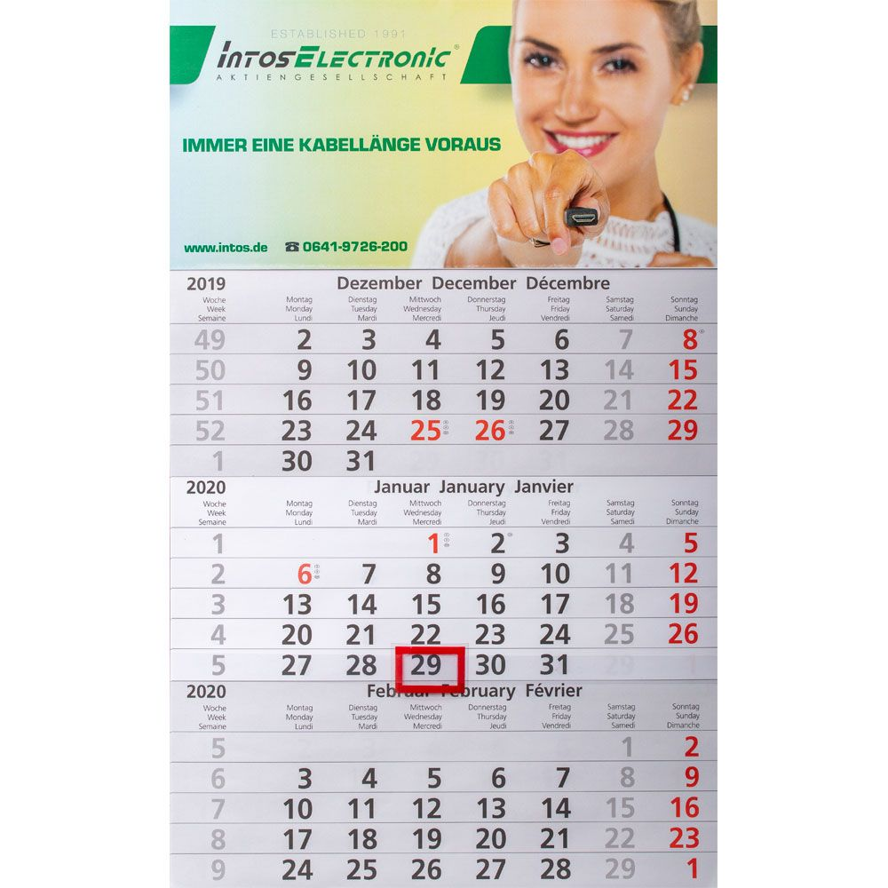 InLine® 3-Monatswandkalender 2020