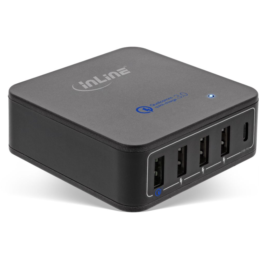 InLine® Power Delivery + Quick Charge 3.0 USB power adapter, charger, 4x USB A + USB Type-C, 40W, black