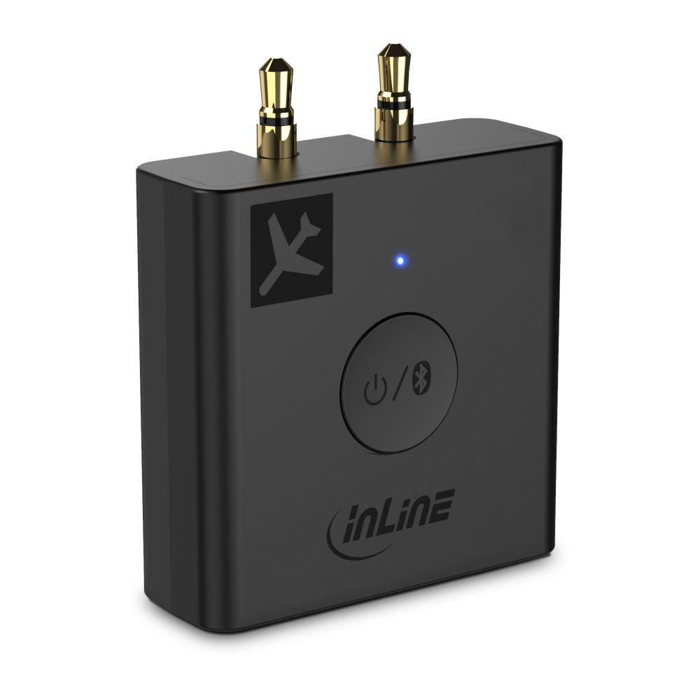 InLine® Airplane Bluetooth Audio Transmitter, BT 5.0, aptX HD/LL, Flight Adapter with Charging Case