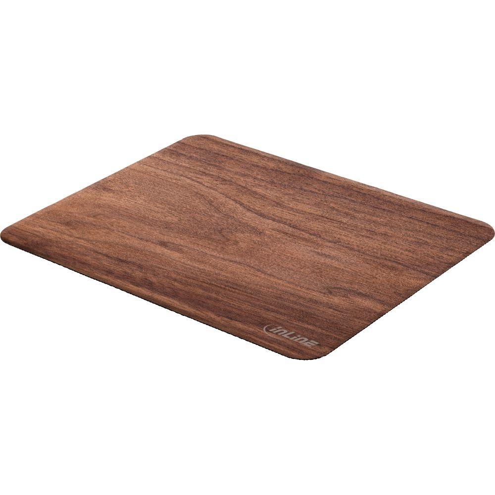 InLine® WoodPad, real wood mouse pad, walnut, 240x200mm