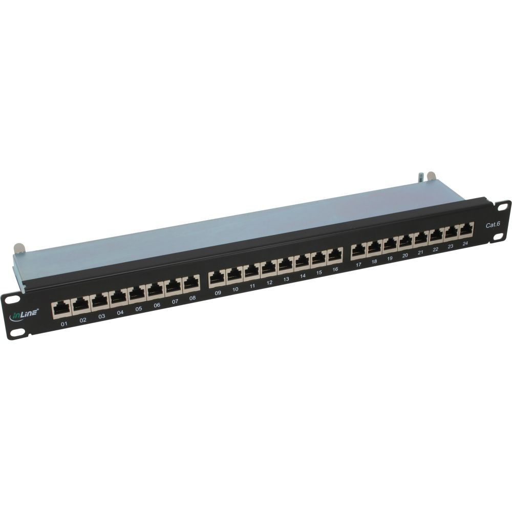 InLine® Patch Panel Cat.6 24 Port 19'' 1HE black RAL9005
