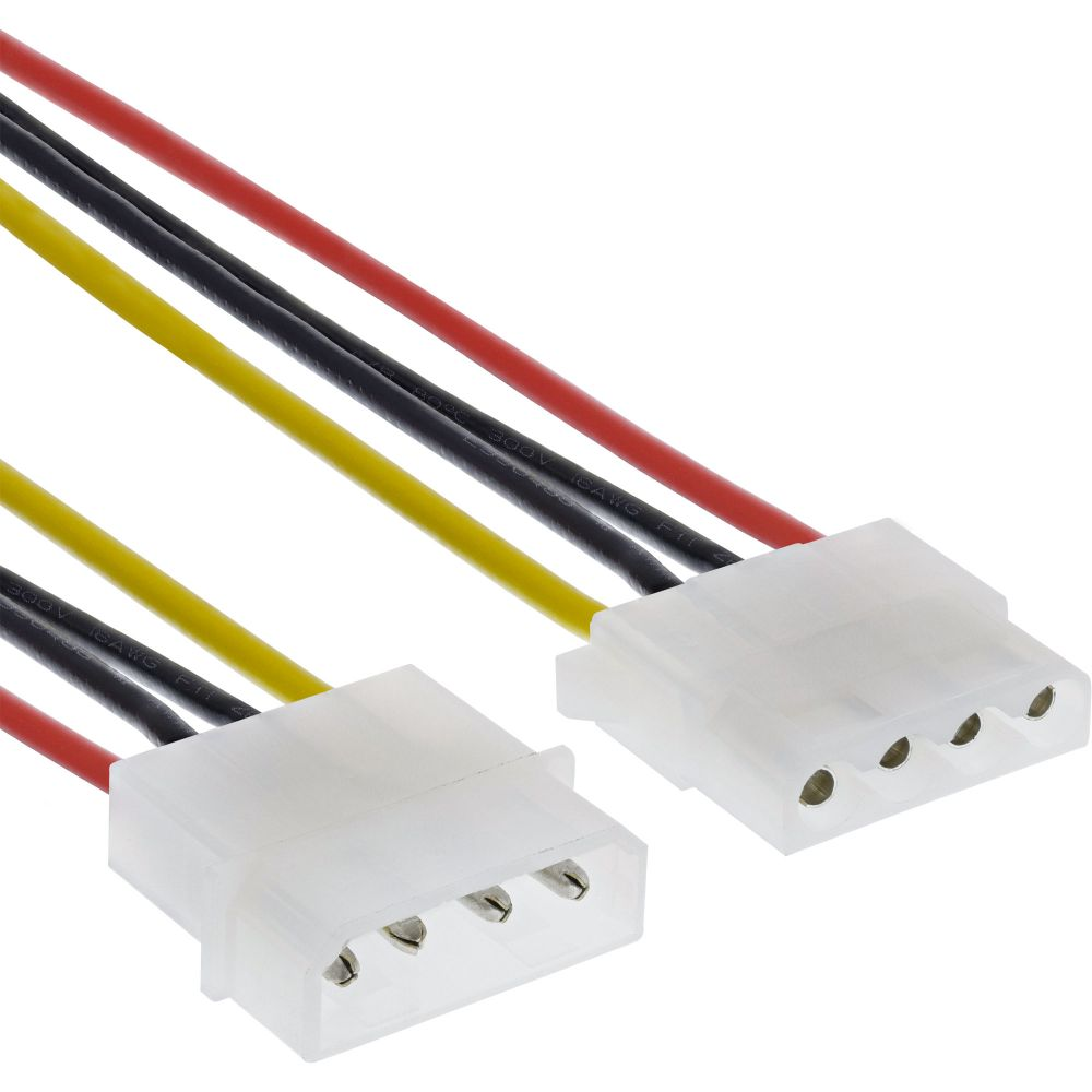 InLine® Power Supply Extension Cable 4 Pin Molex male to female 1m