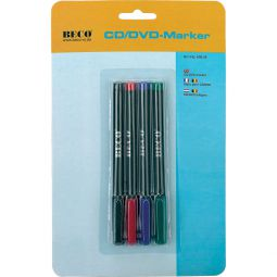 CD/DVD marker, wipeproof and waterproof ink in 4 colours, blister packing ,BECO 609.09