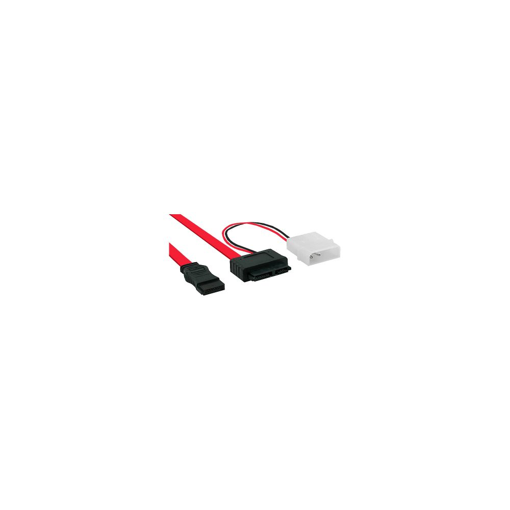 InLine® Slimline SATA Cable 150 / 300 / 600 Slim 13 Pin to SATA + power 0.4m