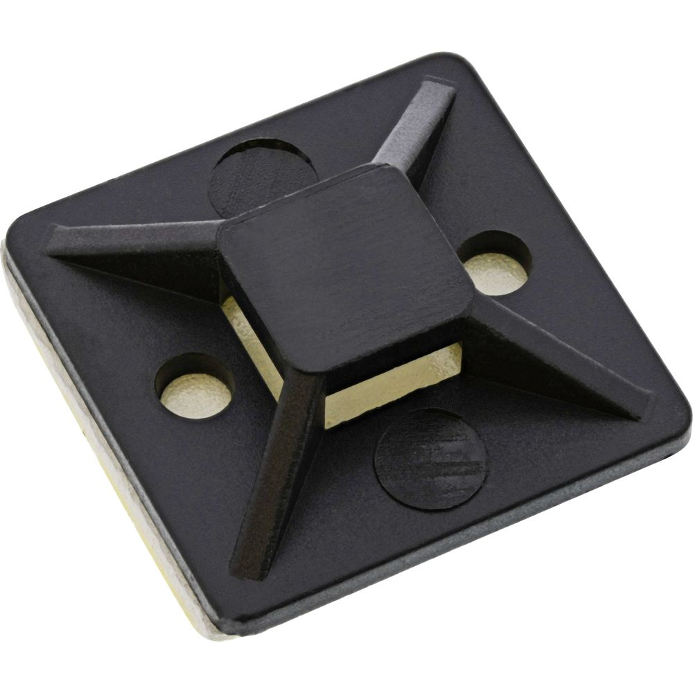 Pack of 100 40x40mm Black Adhesive Cable Tie Base