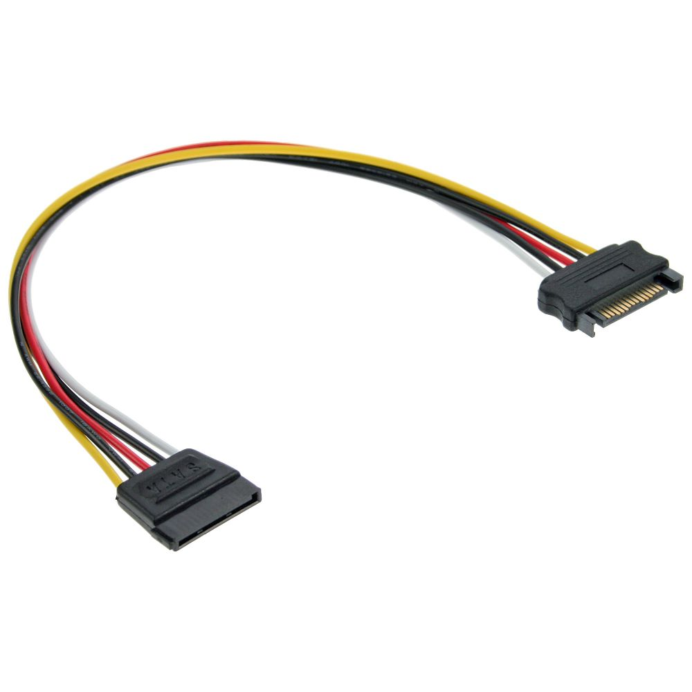 InLine® SATA Power Supply Extension Cable male to female 0.5m