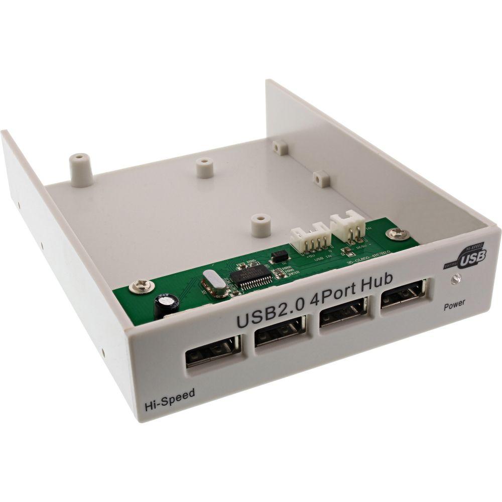 InLine® USB Hub 2.0 4x for the 3.5'' slot grey