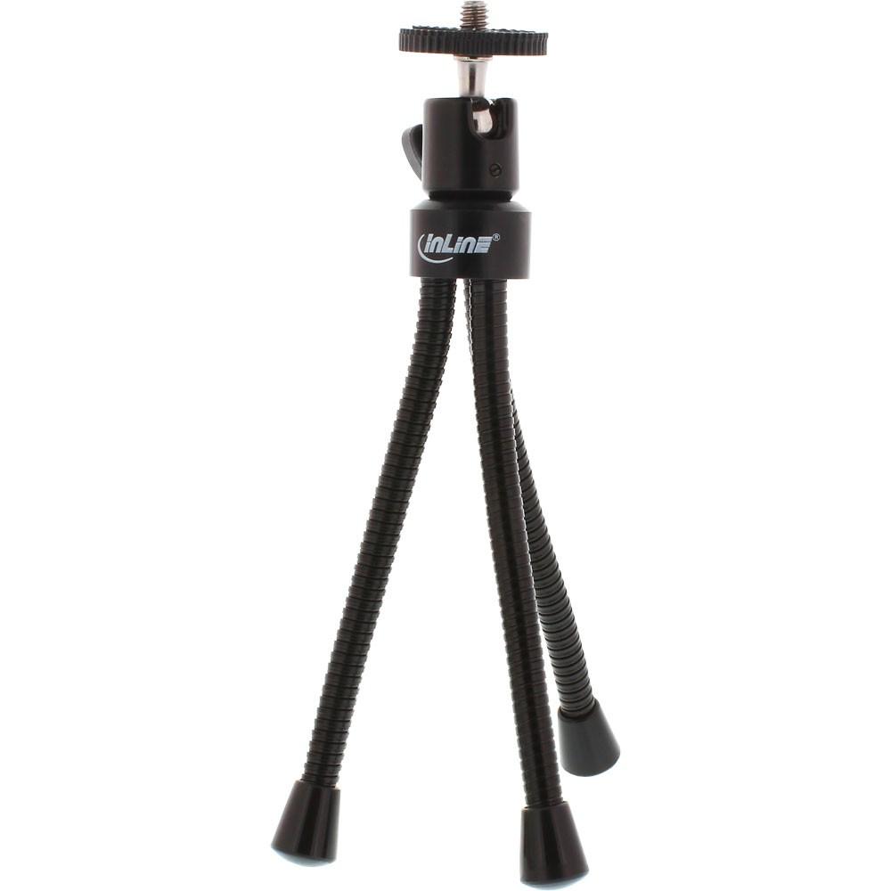 InLine® Mini-Tripod for digital cameras with flexible metal legs 19cm