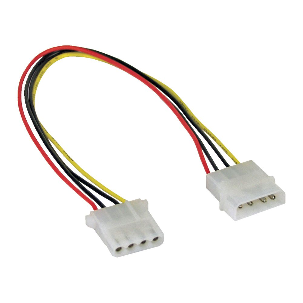 InLine® 5.25'' Power Supply Extension Cable 4 Pin male to female 0.3m