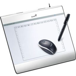Graphic tablet, Genius MousePen i608x, 8''x6'', with pen (pressure sensitive) & mouse, USB, silver