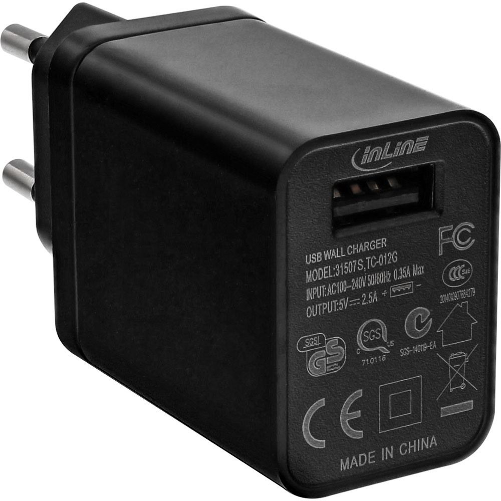 InLine® USB Power Adapter Charger 100-240 Volts to 5V / 2.5A black
