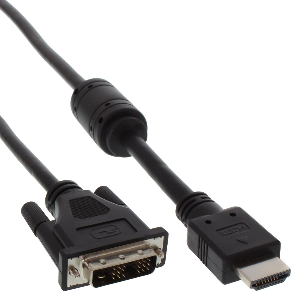 InLine® HDMI-DVI Cable 19 Pin male to 18+1 male + ferrite choke black 1.8m
