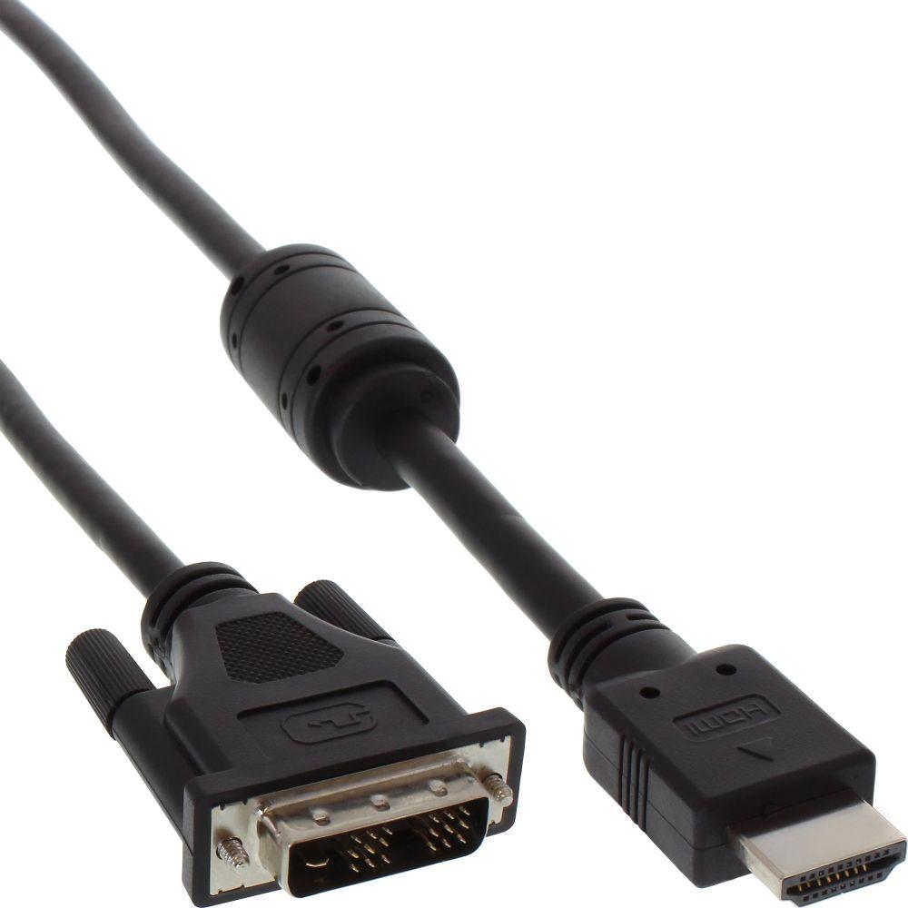 InLine® HDMI-DVI Cable 19 Pin male to 18+1 male + ferrite choke black 1m
