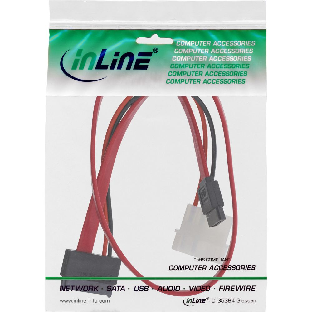 Inline Slimline Sata Cable 150 300 600 Slim 13 Pin To Ata Connector 6 Power 04m