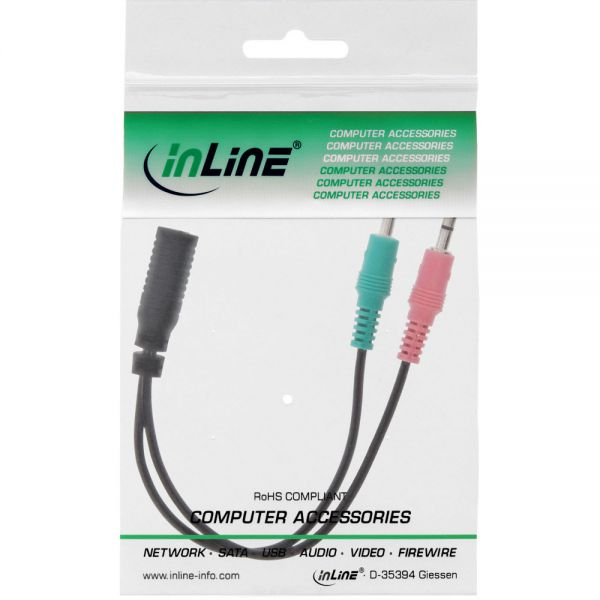 Inline 174 Audio Headset Adpter Cable 2x 3 5mm M To 3 5mm F