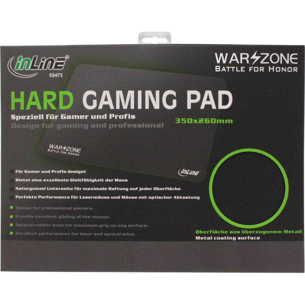 InLine® Mouse Pad Hard Gaming Pad Ultra low drag 350x260x3mm